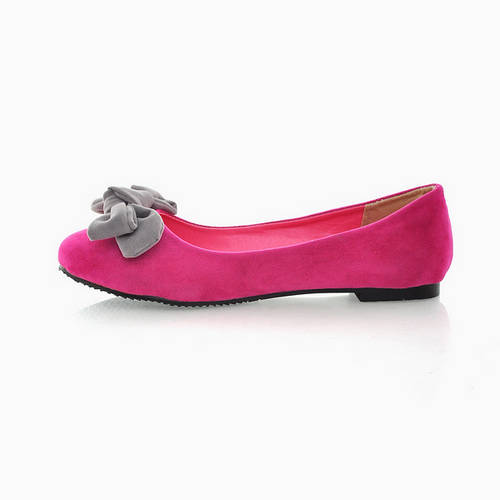 Pretty Bows Round Flat With Shallow Mouth Shoes Peach