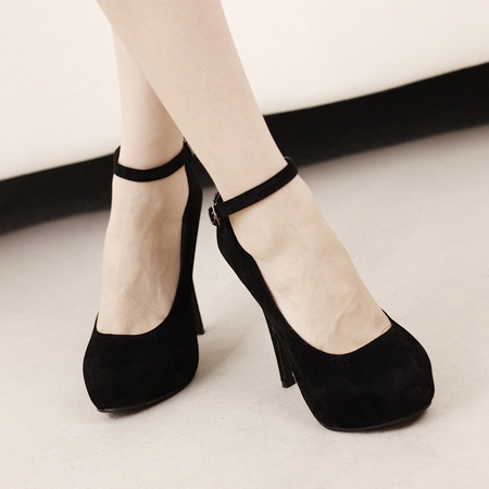 corean suede round closed toe super high stiletto black