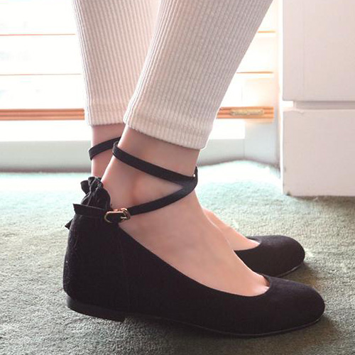 Casual Suede Round Closed Toe Wedges High Heel Black Ankle Strap ...
