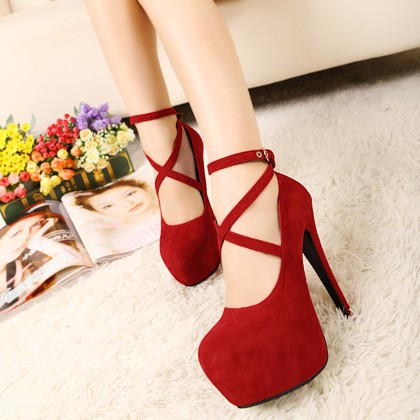 European Round Closed Toe Super High Stiletto Red Ankle Strap Pumps