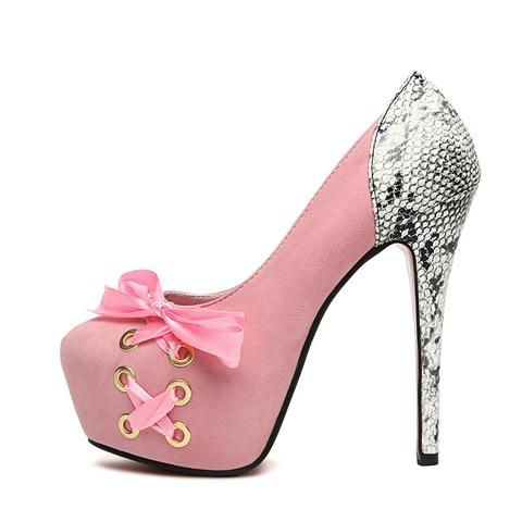 European Sexy Round Cap Toe Lace Up Super High Stiletto Pink Pumps