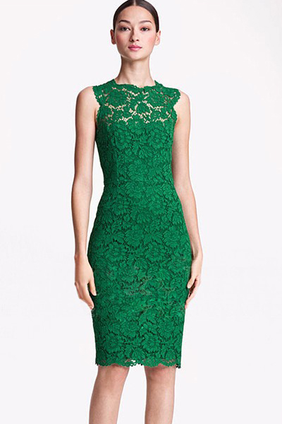 Fashion Mandarin Collar Sleeveless Green Lace Sheath Mini
