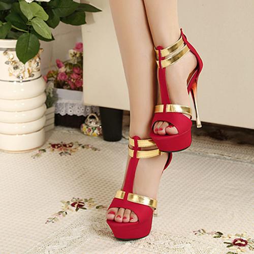 Fashion Metallic Stiletto High Heels Red Suede Ankle Strap Sandals