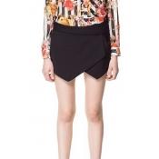 Fashion Drawstring Low Waist Solid Black Cotton Shorts