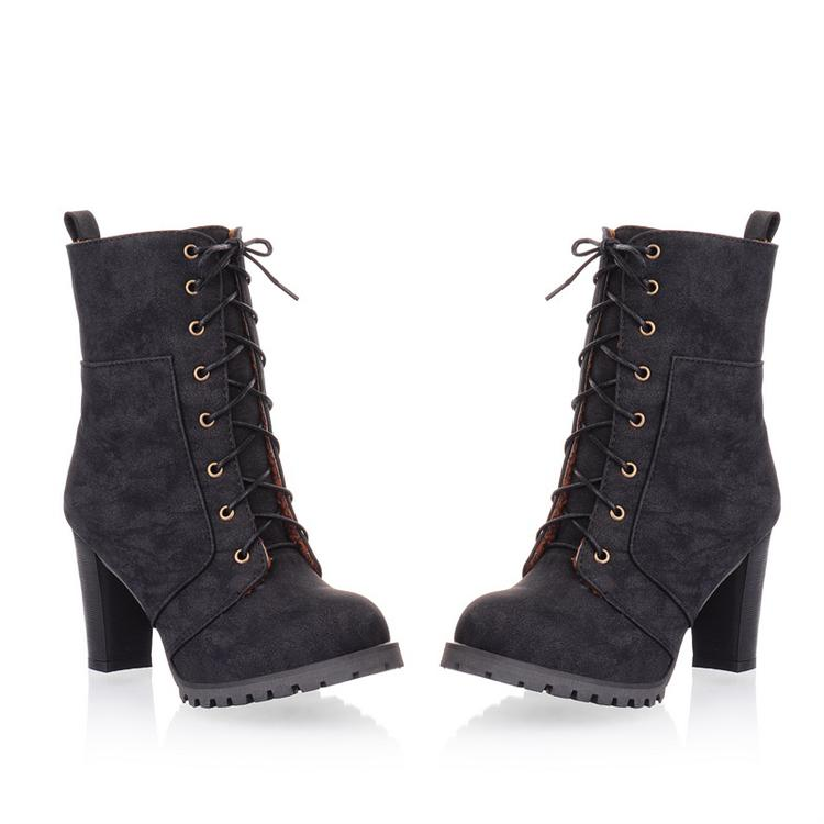 winter toe lace up chunky high heels black suede mid