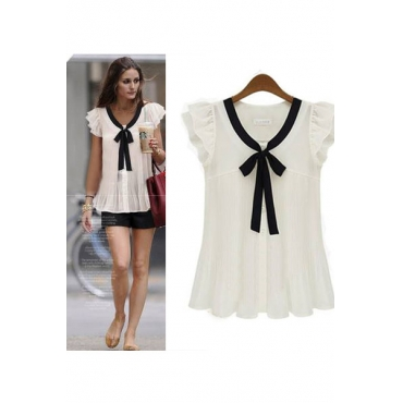 Lovely V Neck Short Sleeves Solid Chiffon Blouse