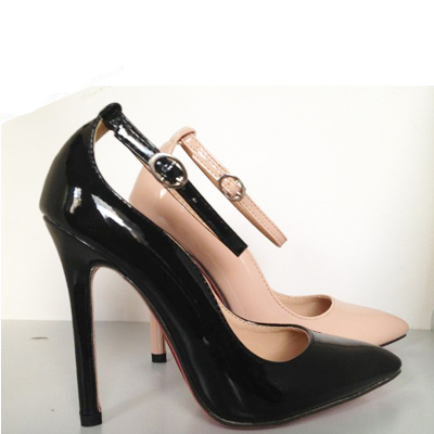 Fashion Pointed Closed Toe Stiletto High Heels Black Patent