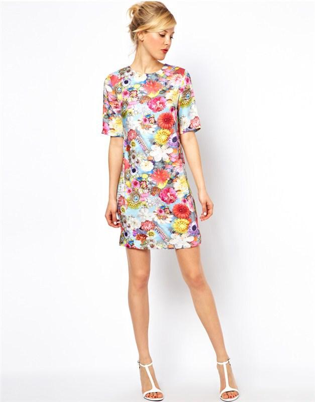 Короткие летние прямые платья