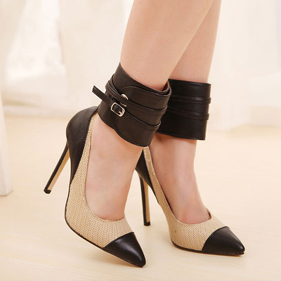 Elegant Pointed Closed Toe Patchwork Stiletto High Heels Apricot ...