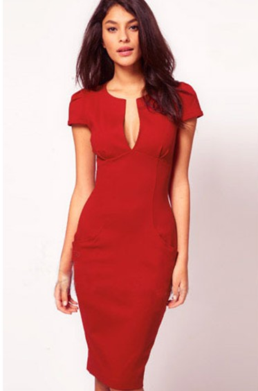 Cheap Cocktail Dresses Deep V-neck Cap Sleeves Red Cotton Sheath ...