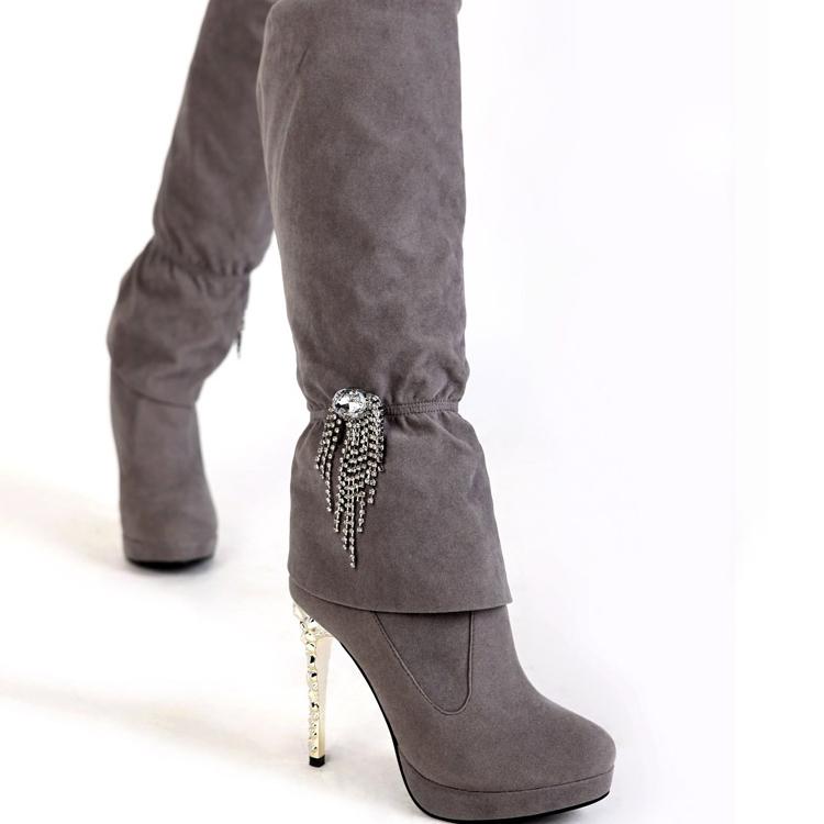 inter toe ruffles stiletto high heels grey suede