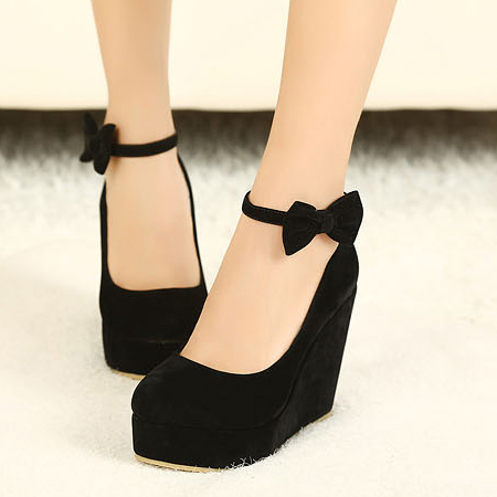 Fashion Round Closed Toe Super High Wedges Black Suede Ankle Strap ...