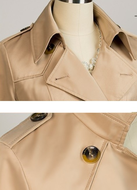 Skinny Turndown Collar Long Sleeves Single-Breasted Khaki Cotton Blends Trench