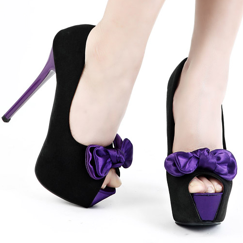 fashion round peep toe platform bow tie stiletto high