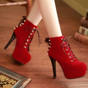 Winter Round Toe Stiletto High Heel Lace Up Short Buckle Red Suede Martens Boots