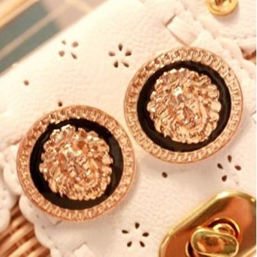 Fashion Retro Round Shape Lion Head Gold Metal Earrings
