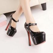 Fashion rund geschlossene Zehe Stiletto High Heels schwarz