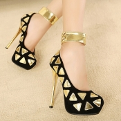 Fashion Round Closed Toe Triangle Print Stiletto  High Heels Black PU Ankle Strap Pumps