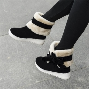 Winter Round Toe Flat Low Heel Slip On Ankle Bow Tie Black Snow Boots