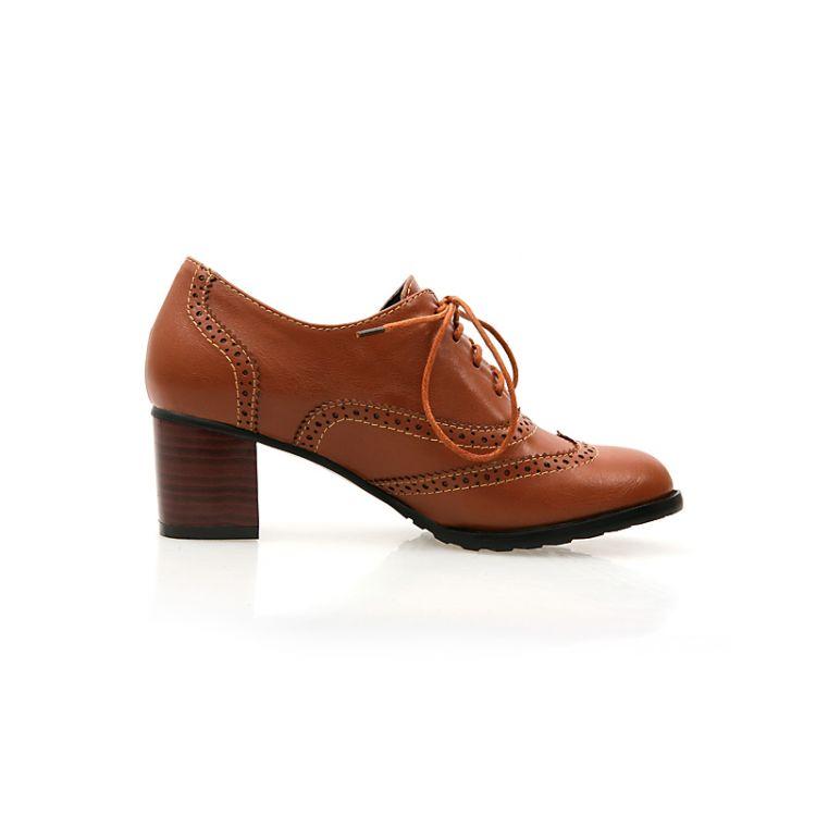 Lace Heel Toe Rodada Moda Chunky Mid Botas Up Ankle Brown PU Cavalier