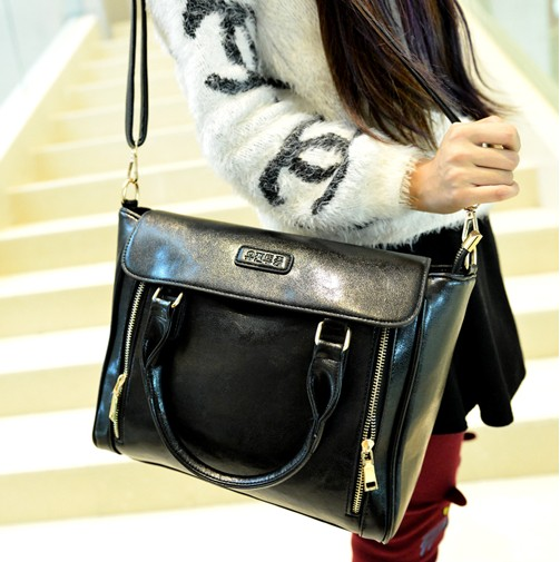 Women Fashion Solid Zipper Black PU Shoulder Bag