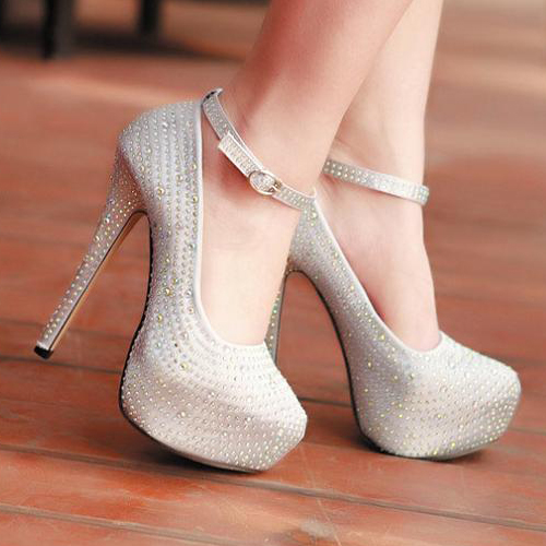 Fashion Round Toe Closed Stiletto High Heel Ankle Strap Silver