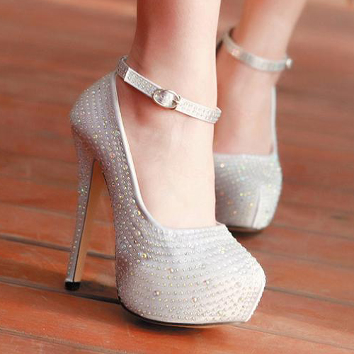Fashion Round Toe Closed Stiletto High Heel Ankle Strap Silver