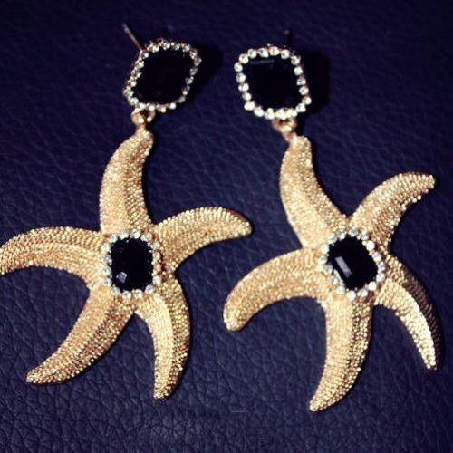 Fashion Black Metal Earrings