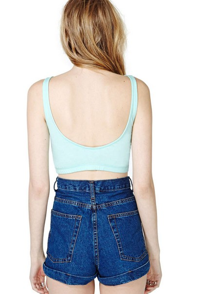 Sexy Woman O Neck Regular Green Cotton Vest