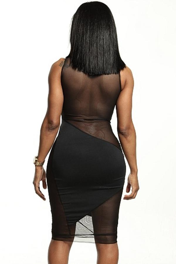 Sexy O Neck Tank Sleeveless Sheath Black Polyester Mini Dress