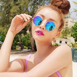 Retro Round Blue Metal Sunglasses
