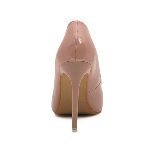 Fashion Pointed Toe Closed Stiletto High Heel Basic Nude Color PU Pumps