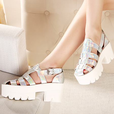 Casual Chunky High Heel Sandals Básico Prata PU
