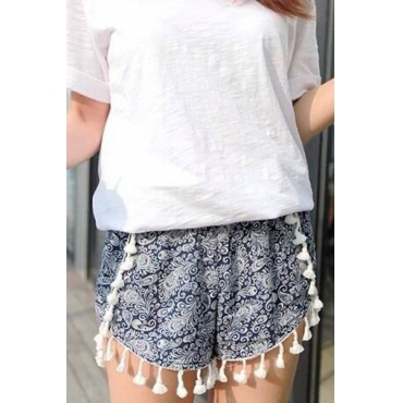 New Style Woman Striped Elastic Waist Mid Regular Blue Cotton Shorts