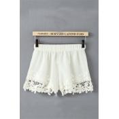 New Style Solid Elastic Waist Mid Regular White Cotton Shorts