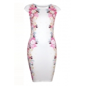 Fashion O Neck Cap Sleeves Floral-print White Polyester Sheath Mini Dress