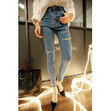 Casual High Waist Zipper Fly Broken Holes Designed Solid Blue Cotton Blends Skinny Pants