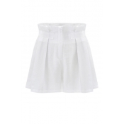 New Style Mid-waist Solid White Regular Shorts