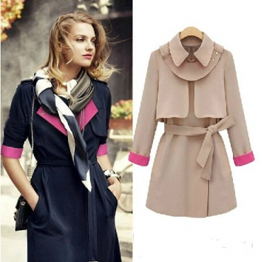 Cheap Fashion Turndown Collar Long Sleeves Single-breasted Patchwork Khaki Long Trench Coat