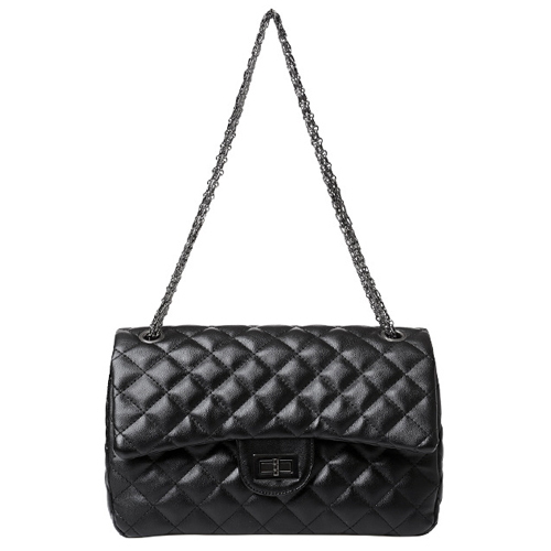 Cheap Fashion Hasp Design Plaids Embossed Solid Black PU Shoulder Bag