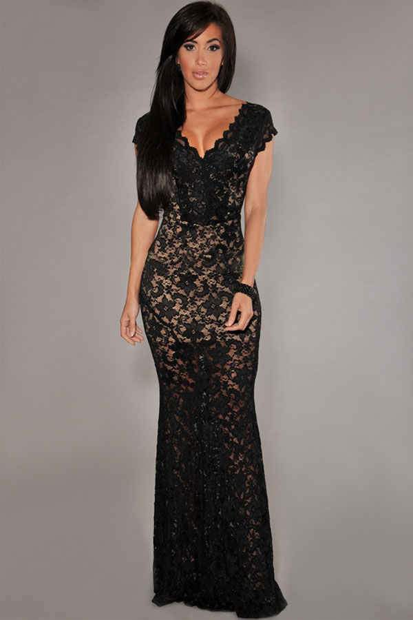 Sexy v neck tank sleeveless low back lace hollow out black polyester