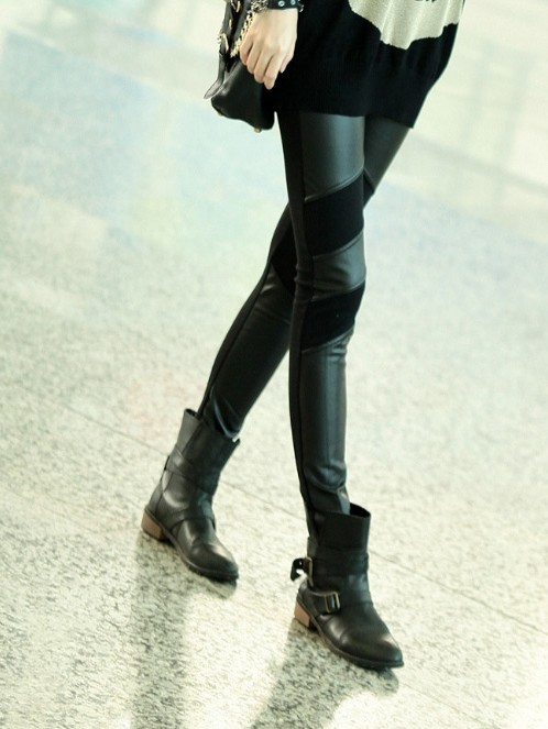 Cheap Street Style Mid Waist PU Leather Patchwork Solid Black Leggings