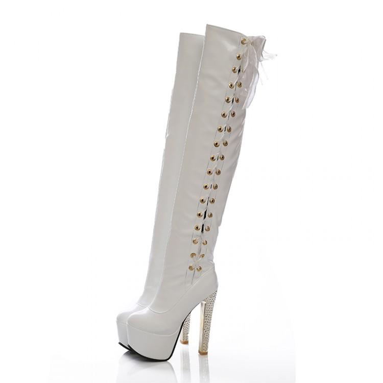 cheap winter fashion toe lace up chunky high