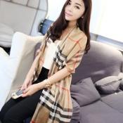 Cheap Casual Khaki Plaids Print Wool Scarf