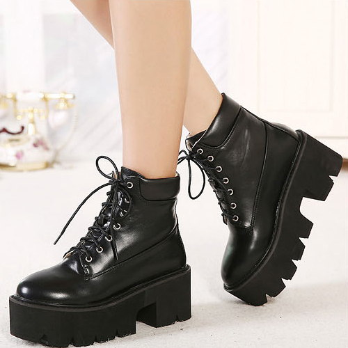 cheap winter fashion toe lace up platform chunky