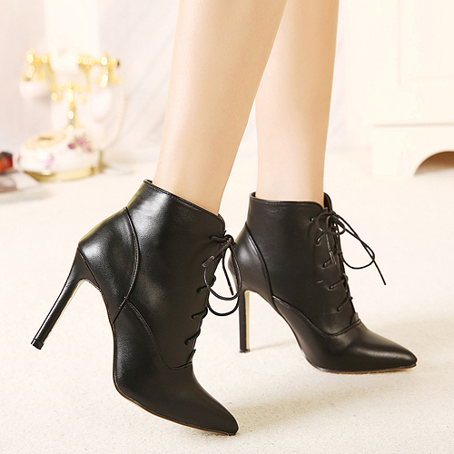 cheap winter fashion pointed toe lace up stiletto