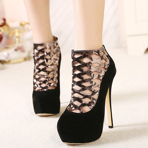 Cheap Fashion Round Closed Toe Hollow-out Patchwork Stiletto Super