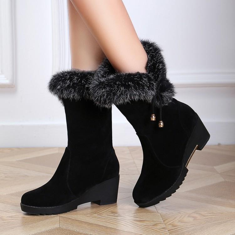 cheap winter fashion toe fur patchwork slip on flat