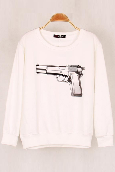 Cheap Fashion O Neck Long Sleeves Gun Print White Cotton Blend Shirt