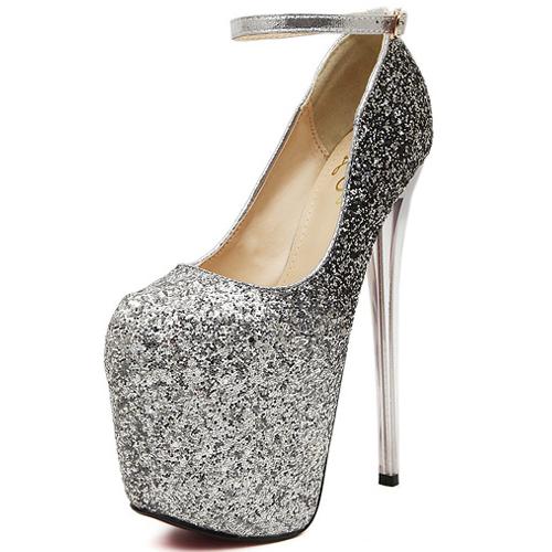 Silver High Heels Cheap - Qu Heel